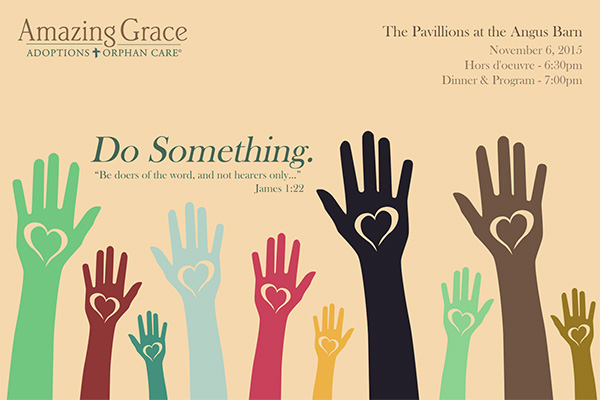 Banquet invitation graphic design for Amazing Grace Adoptions