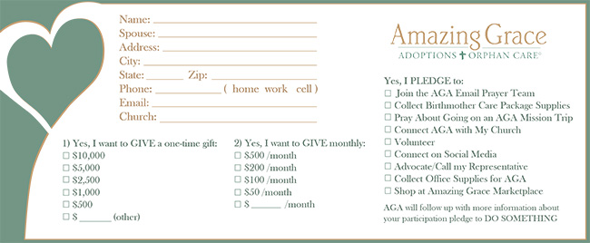 Pledge card design for Amazing Grace Adoptions